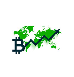 Worldwide bitcoin growth chart with upward arrow vector