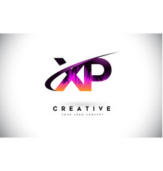Xp x p grunge letter logo with purple vibrant vector