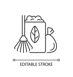 Yard waste collection linear icon vector