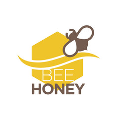 bee honey logo design with insect isolated vector image vector image