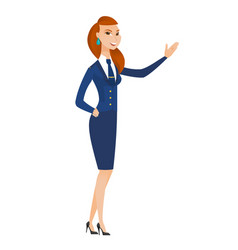 caucasian stewardess showing a direction vector image