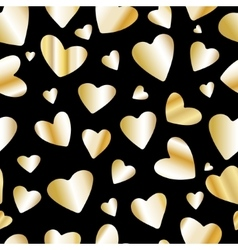Golden foil heart seamless pattern vector image vector image