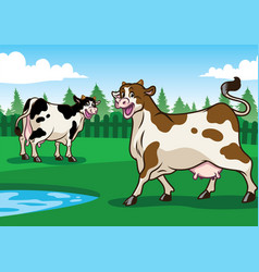 happy cow in the field vector image