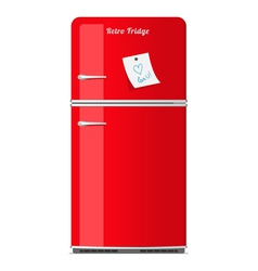 Red retro fridge with paper note vector image vector image