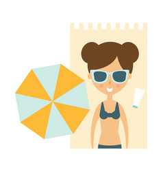 woman laying on blanket on sand under umbrella vector image vector image