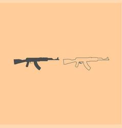 assault rifle dark grey set icon vector image vector image