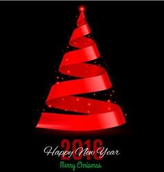 Ribbon christmas tree vector image vector image
