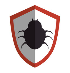 shield with bug virus alert icon vector image