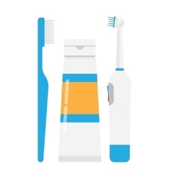 tooth brushes toothpaste and Electric Toothbrush vector image