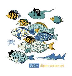 underwater sea life pirate animals clipart vector image