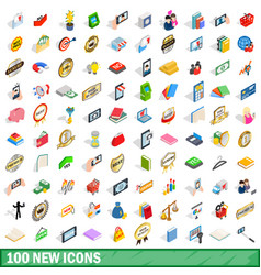 100 new icons set isometric 3d style vector image vector image
