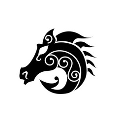 black heraldic horse head vector image
