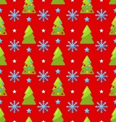 Red seamless Christmas pattern green fir vector image