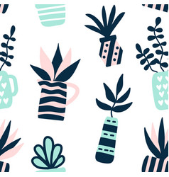 succulents plants seamless pattern vector image