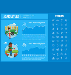 agriculture infographic template elements icons vector image