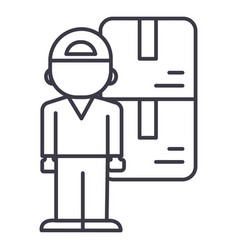 delivery man line icon sign vector image vector image