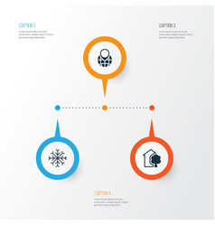 Eco-friendly icons set collection of house snow vector
