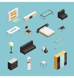 Home Interior Objects Isometric Icons Set vector image
