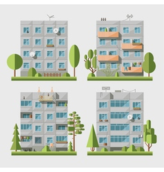 Panel houses flat set1 vector image