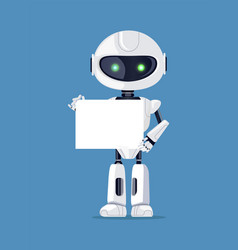 robot stands with empty paper vector image