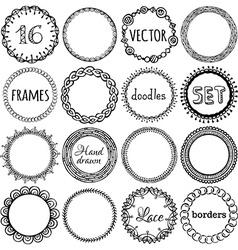 set of hand-drawn ethnic frames vector image