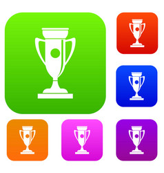 winning cup set collection vector image vector image
