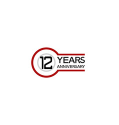 12 years anniversary with circle outline red vector