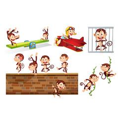a set of playful monkey vector image
