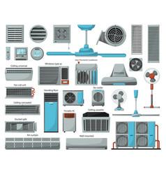 air ventilator cartoon set icon vector image