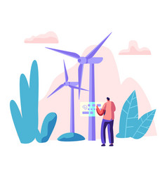 alternative energy sources concept with turbines vector image