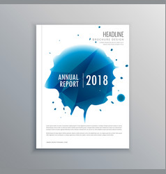 annual report brochure flyer design with blue ink vector image