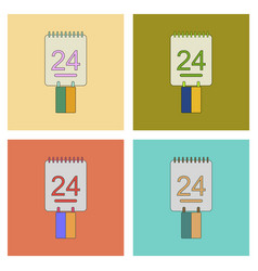 Assembly flat icons calendar ukraines independence vector