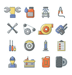 Auto repair icons set cartoon style vector