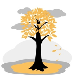 Autumn tree with yellowed leaves vector image