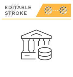 bank editable stroke line icon vector image