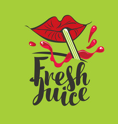 Banner for fresh juice with lips straw and red vector