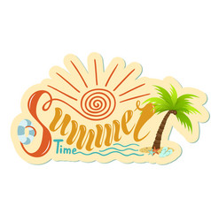 beautiful handwritten text of summer time on a vector image