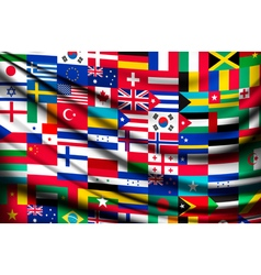 Big flag background made of world country flags vector