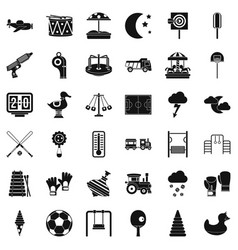 Big playground icons set simple style vector