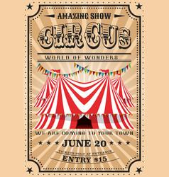Bit top circus tent vintage funfair show vector