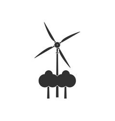 Black icon on white background wind turbine vector