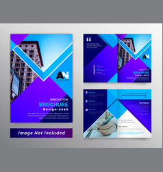 Blue color abstract bifold business brochure vector