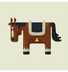 Brown square shape cute horse standing sideways vector
