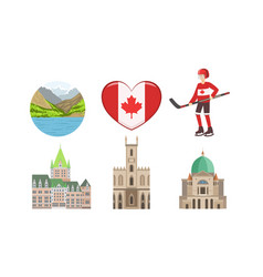 canada traditional cultural symbols and vector image