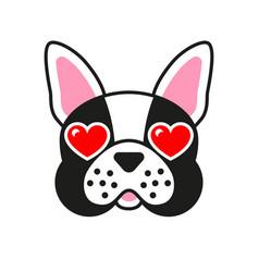 Cartoon french bulldog dog with hearts in eyes vector