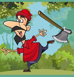 Cartoon funny lumberjack throwing axe in the woods vector