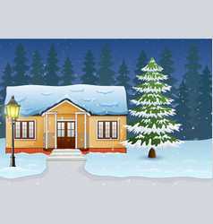 Cartoon of winter night landscape with house and s vector
