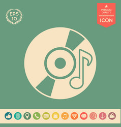 cd dvd with music symbol icon vector image