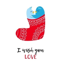 Christmas card with love pinguines vector
