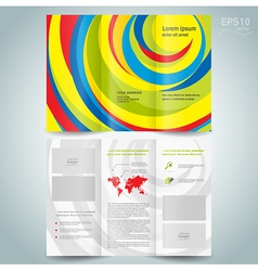 colored brochure design template folder leaflet vector image vector image
